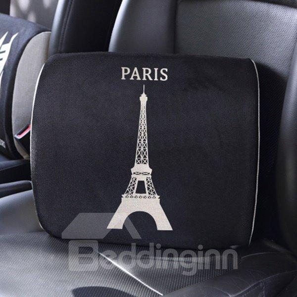Elegant Dual Colored Letter Paris Patterned Car Pillow