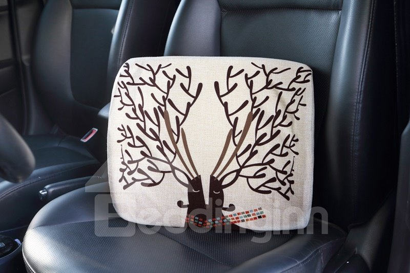 Beautiful Abstract Reindeer Patterned Linen Car Pillow