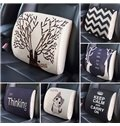 Concise Dual Colored Beautiful Bird Patterned Car Pillow