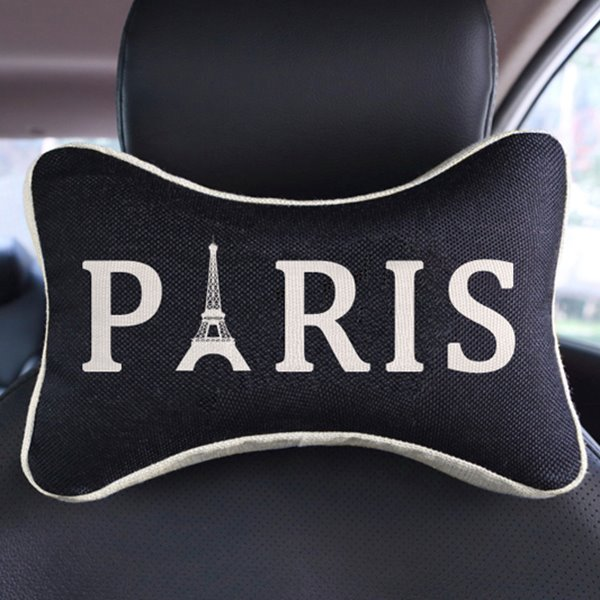 Elegant Dual Colored Letter Paris Patterned Car Neckrest Pillow