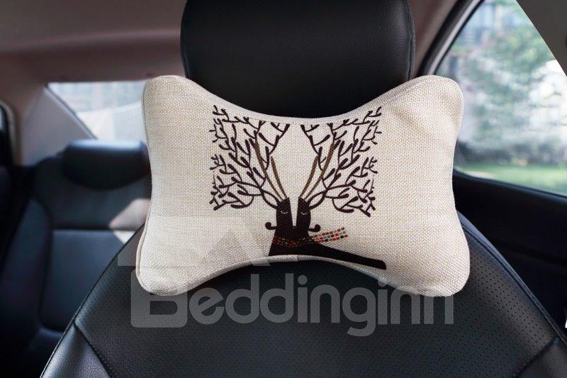 Beautiful Abstract Reindeer Patterned Car Neckrest Pillow