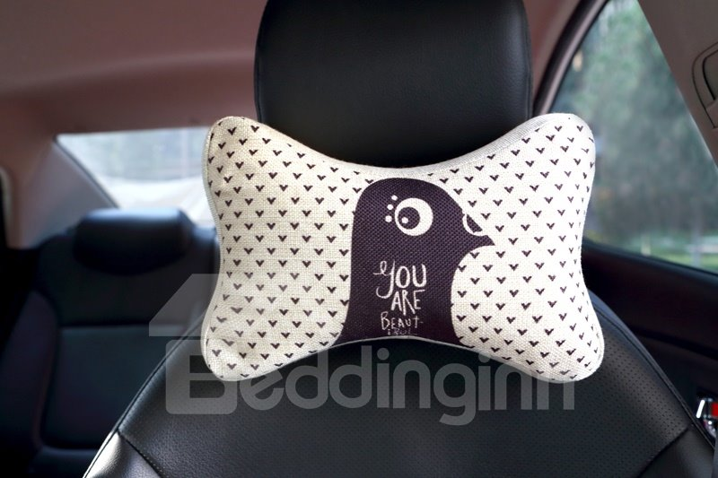 Concise Beautiful Bird Patterned Car Neckrest Pillow