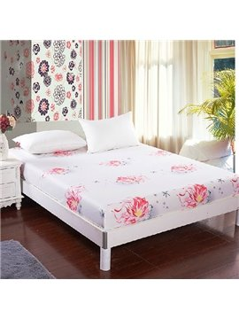 Graceful Red Flowers Print White Cotton Fitted Sheet