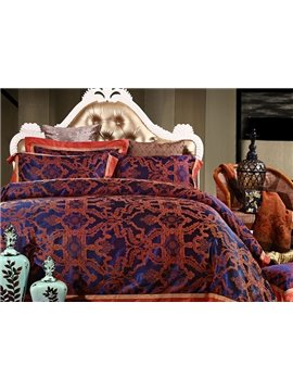 Luxury European Jacquard Design 4-Piece Cotton Duvet Cover Sets