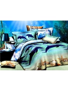 Adorable Dolphins Starfish Print Cotton 4-Piece Duvet Cover Sets
