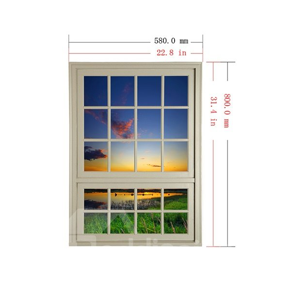 Beautiful Sunset in Countryside Window View Removable 3D Wall Stickers