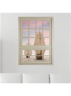 Sailing Boat on Sea Window View Removable 3D Wall Stickers