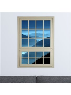 Rolling Mountains in Deep Blue Dusk Window View Removable 3D Wall Stickers