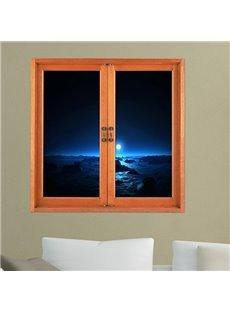 Creative Light Shimmering on the Horizon in Dark Night Window View Removable 3D Wall Stickers