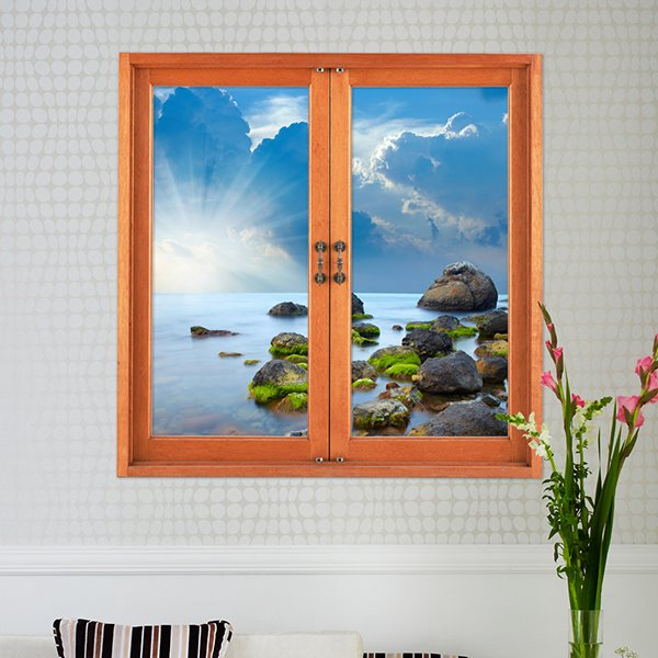 Beautiful Seashore and Rocks Window View Removable 3D Wall Stickers