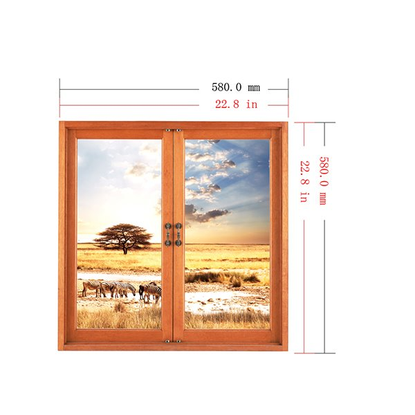 Natural Scenery Safari with Wild Animals Window View Removable 3D Wall Stickers