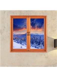 Snow-covered Mountains and Pine trees Window View Removable 3D Wall Stickers