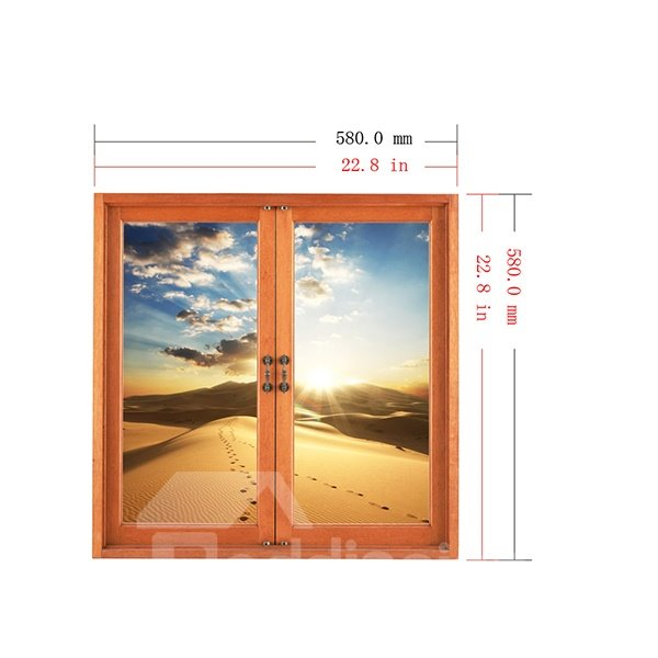 Golden Desert with Lines of Foot Prints Window View Removable 3D Wall Stickers