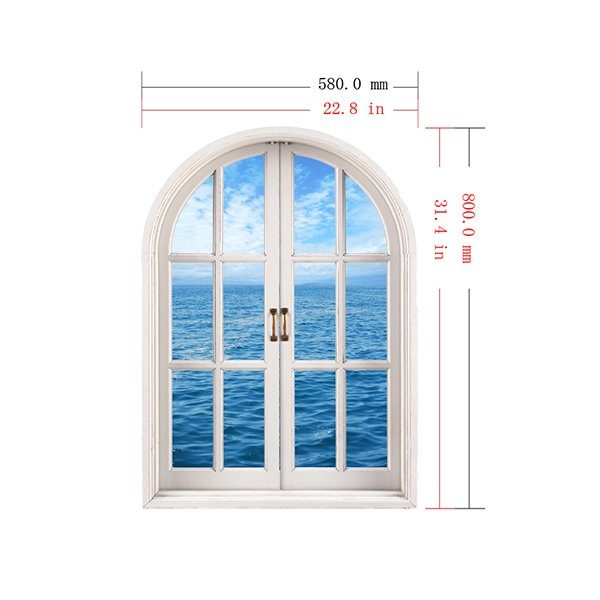Pure Blue Sea Water and Sky Window View Removable 3D Wall Stickers
