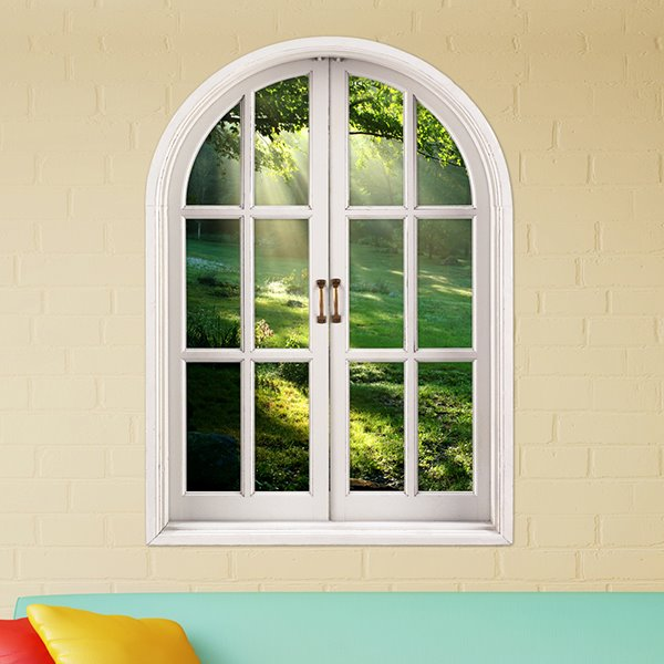 Beautiful Natural Scenery and Green Grassland Window View Removable 3D Wall Stickers