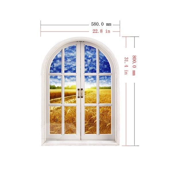 Ripe Golden Wheat Fields Window View Removable 3D Wall Stickers