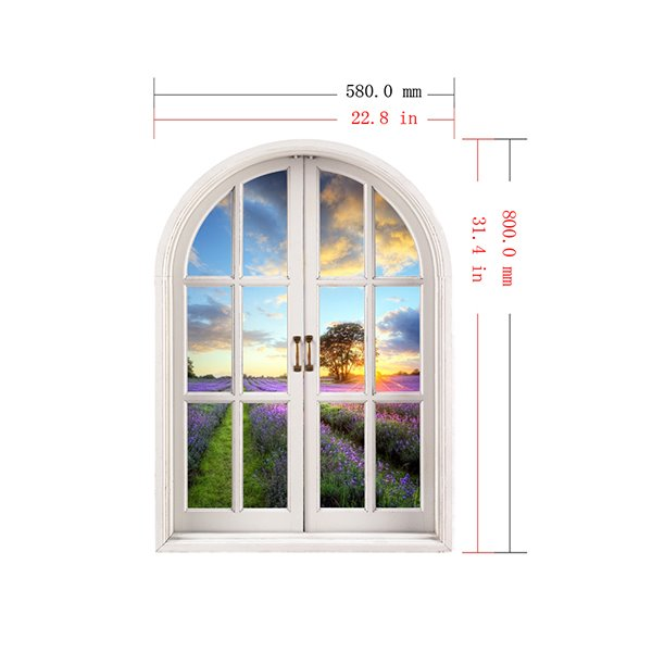 Romantic Lavender Fields Window View Removable 3D Wall Stickers