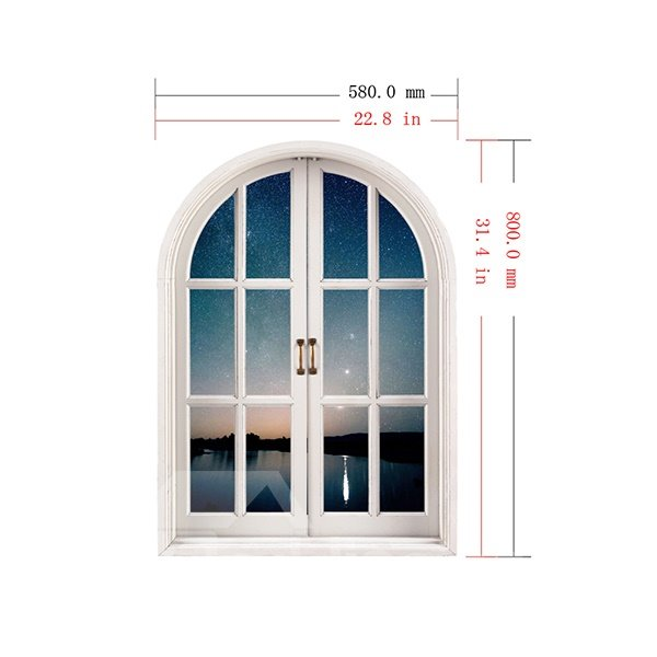 Peace and Quiet Lake in Deep Dusk Window View Removable 3D Wall Stickers