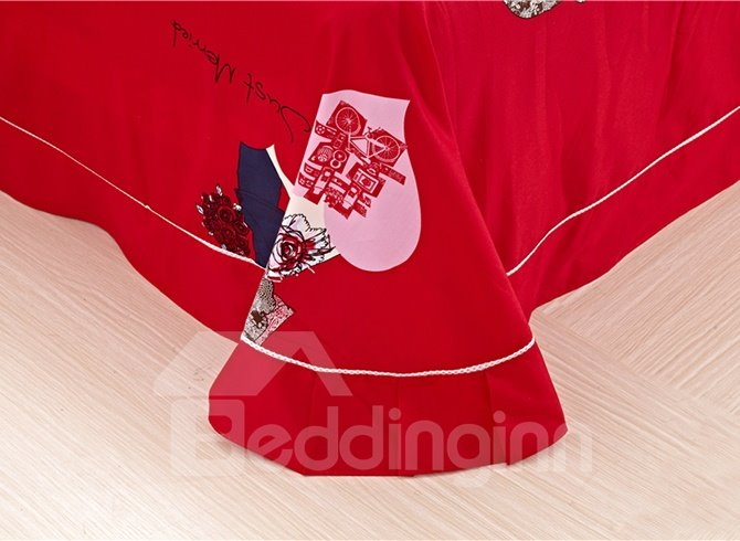 Cartoon Lovers Wedding Print Red 4-Piece Cotton Duvet Cover Sets