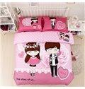 Cartoon Lovers Romantic Roses Print Pink 4-Piece Cotton Duvet Cover Sets