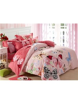 Flying Butterflies Flowers Print Pink 4-Piece Cotton Duvet Cover Sets