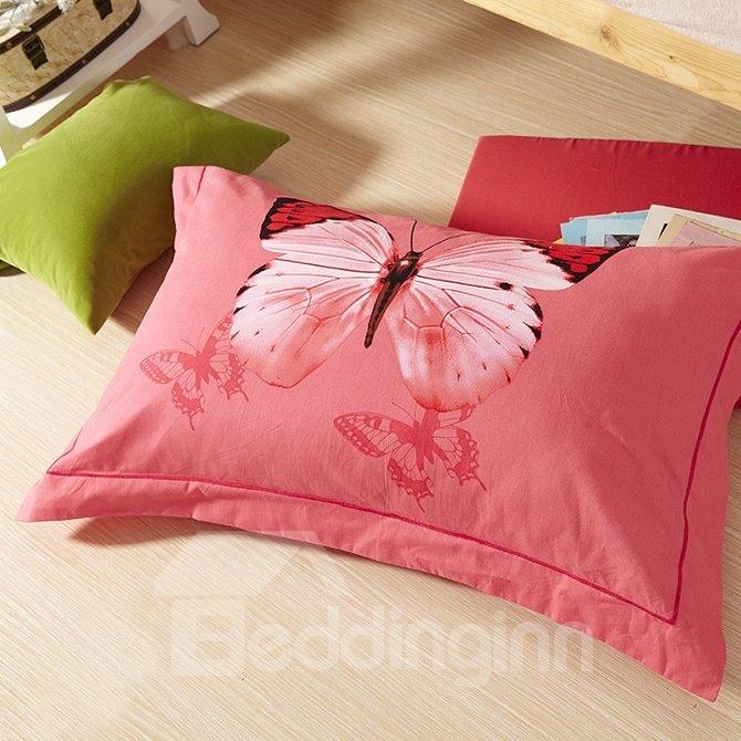 Flying Butterflies Flowers Print Pink 4-Piece Cotton Duvet Cover Sets