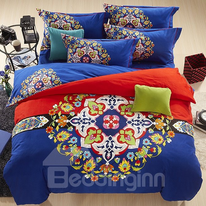 European Big Flowers Design Royal Blue 4-Piece Cotton Duvet Cover Sets