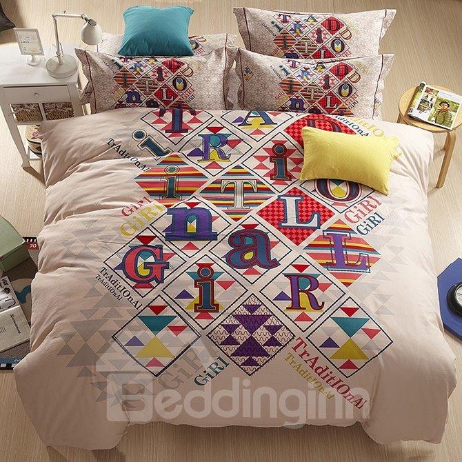 Fashion Alphabet Design Cotton 4-Piece Duvet Cover Sets