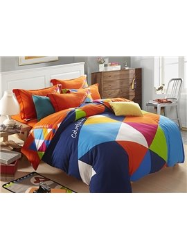 Colorful Geometric Figure Design 4-Piece Cotton Duvet Cover Sets