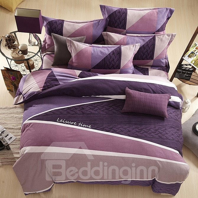 Concise Letter Stripe Print Purple 4-Piece Duvet Cover Sets