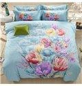 Splendid Colorful Flowers Print Blue Cotton 4-Piece Duvet Cover Sets