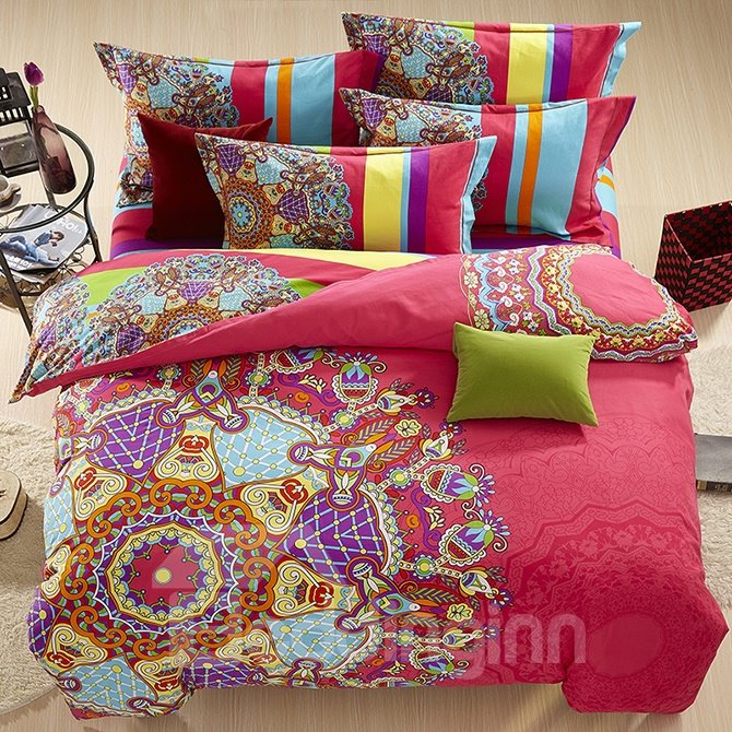 Unique Ethnic Customs Design 4-Piece Cotton Duvet Cover Sets