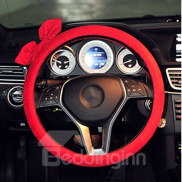Beautiful Pure Colored Bowknot Patterned Steering Wheel Cover
