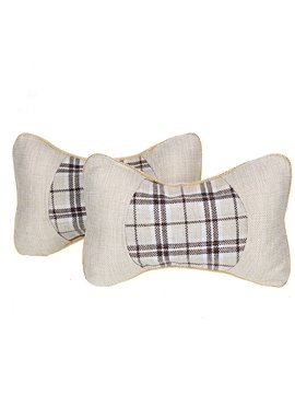 Comfortable Lattice Patterned Linen Neckrest Pillow