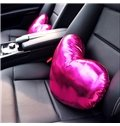 Shiny Pure Colored Heart Shaped Premium Car Neckrest Pillow