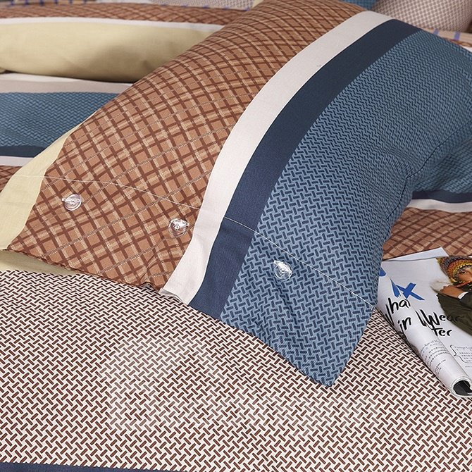 Fashion Concise Gingham Cotton 4-Piece Duvet Cover Sets
