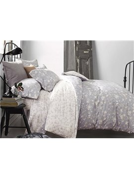 Elegant Pastoral Flowers Reactive Printing 4-Piece Duvet Cover Sets