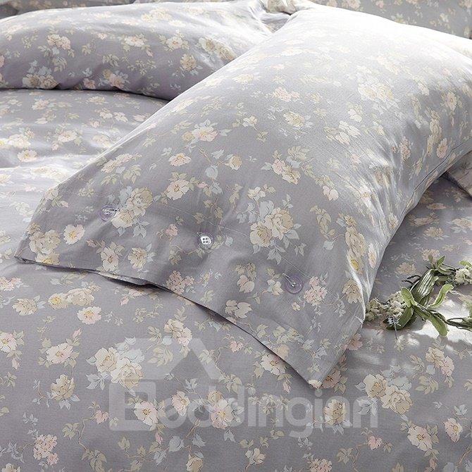 Elegant Pastoral Flowers Reactive Printing 4-Piece Duvet Cover Sets