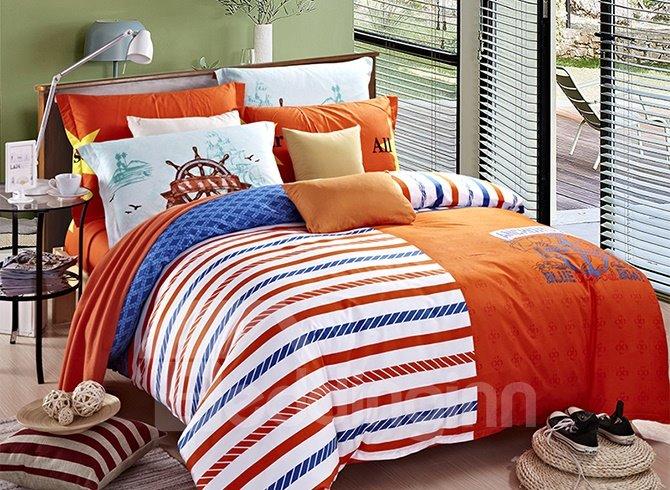 Fancy Concise Stripes Design 4-Piece Duvet Cover Sets