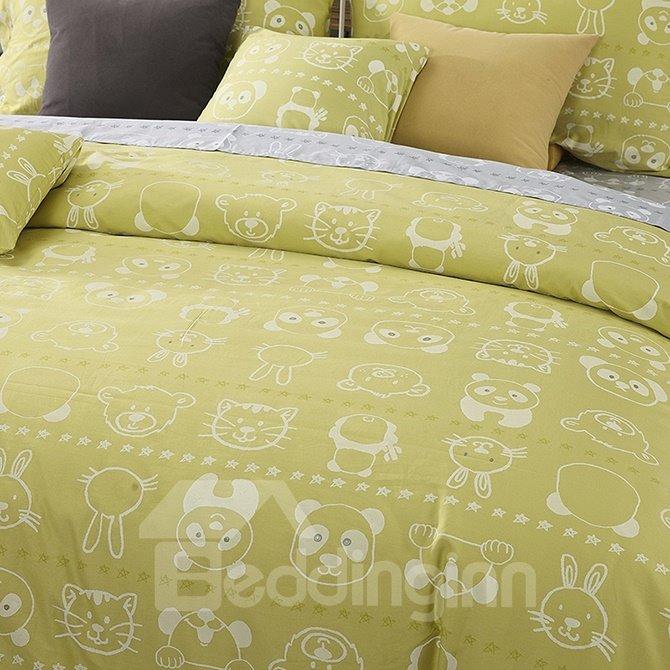 Cartoon Animals Print Refreshing Green 4-Piece Duvet Cover Sets