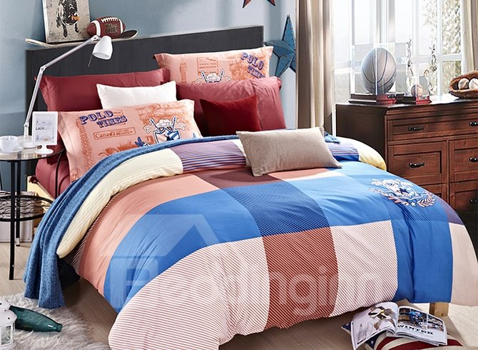Concise Colorful Gingham 4-Piece Cotton Duvet Cover Sets