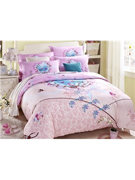 Elegant Flowers Reactive Printing 4-Piece Pink Duvet Cover Sets