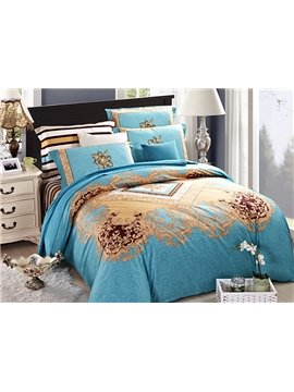 Light Blue European Jacquard Style 4-Piece Cotton Duvet Cover Sets