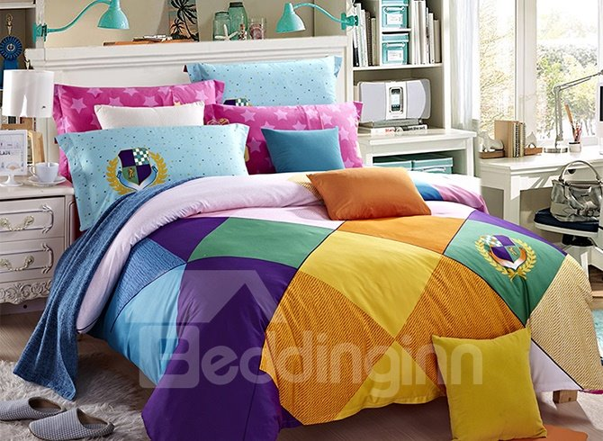 Colorized Plaid Cotton 4-Piece Duvet Cover Sets