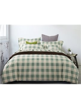 Refreshing Green Plaid Design 4-Piece Duvet Cover Sets