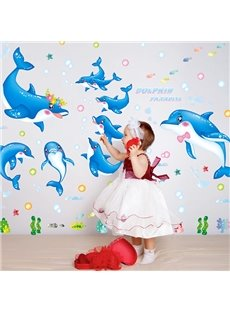 Cute Cartoon Dolphins Nursery Bedroom Bathroom Removable Wall Sticker