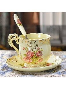 European Style Rose Pattern Ceramic Coffee Cup with Saucer