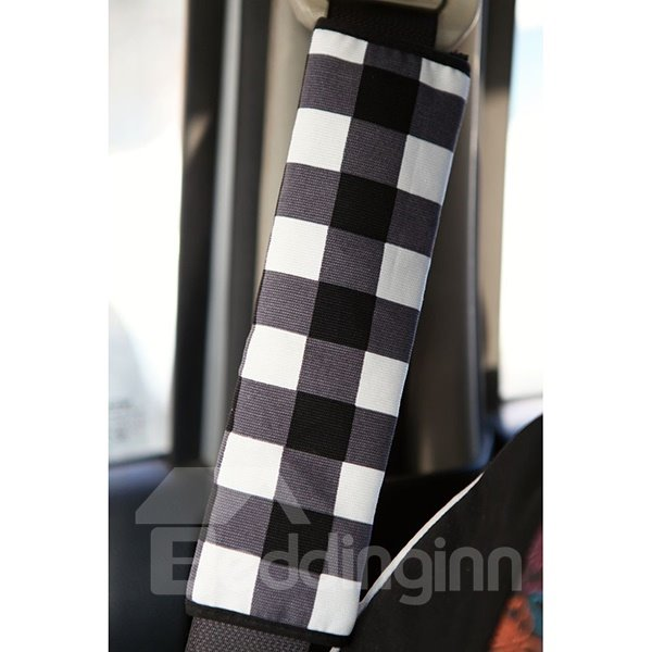 Concise Stripe Patterned Dual Color Car Seat Belt Cover