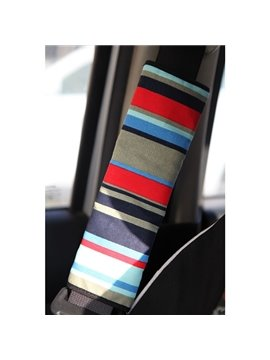 Random Colored Stripe Patterned Car Seat Belt Cover