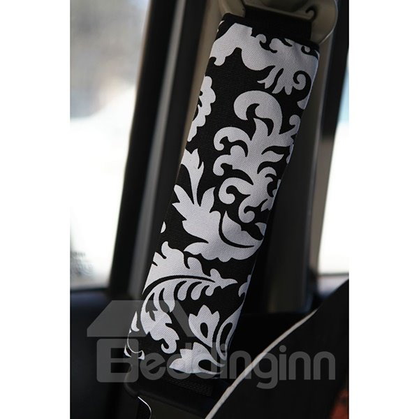 Dual Colored Concise Floral Patterned Car Seat Belt Cover